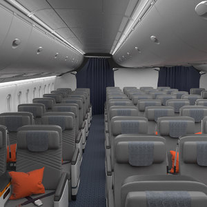 premium economy class interior 3D