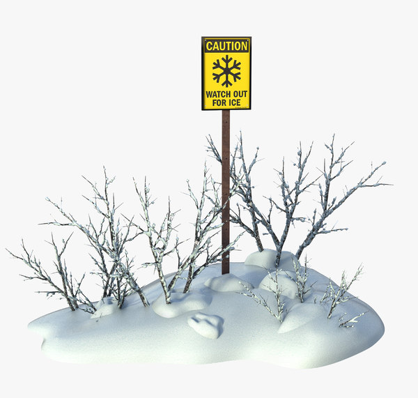 sign ice warning 3D model