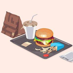 3D model fastfood burger