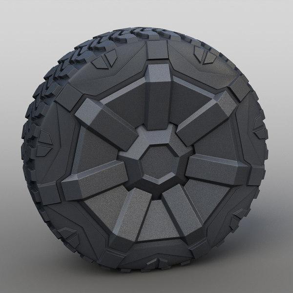 3D model 2019 tesla cybertruck wheel