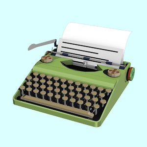 3D model cartoon typewriter