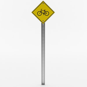 3D bicycle crossing sign model