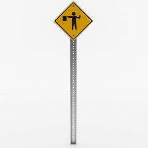 3D model flagger ahead sign