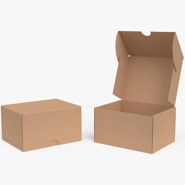 3D model cardboard box 03 rigged