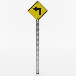 left turn sign 3D model