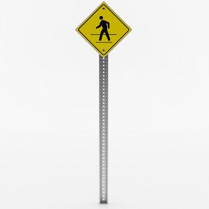 pedestrian crossing sign 3D model