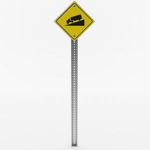 steep incline sign 3D model