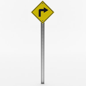 right turn sign 3D