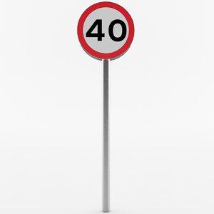 european speed limit sign 3D