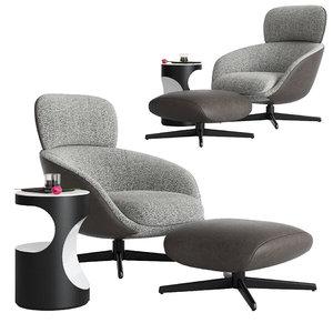 3D minotti russell arm chair