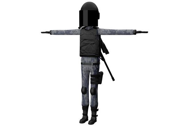 3D cartoon police riot officer