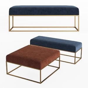 box frame upholstered bench 3D model