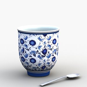chinese porcelain cup 3D model
