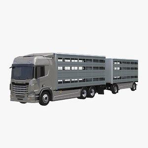 3D livestock tandem truck