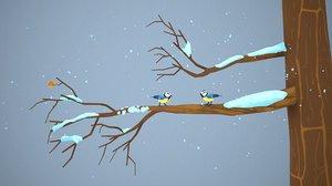 scene tomtits branch 3D model