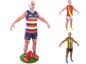 3D australian football player 4k model