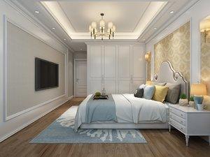 style bedroom balcony 4100x3600 3D model