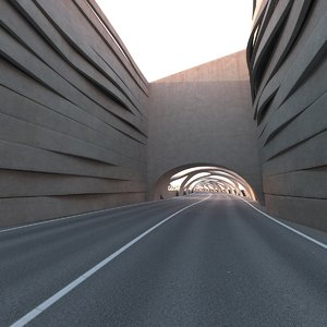 3D model sci-fi car tunnel