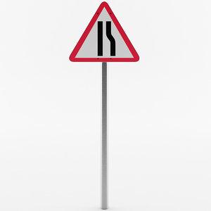 european road narrows sign 3D