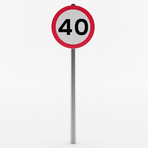 3D european speed limit sign model