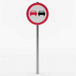 european passing sign 3D model