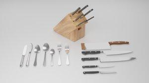 3D silverware set knife