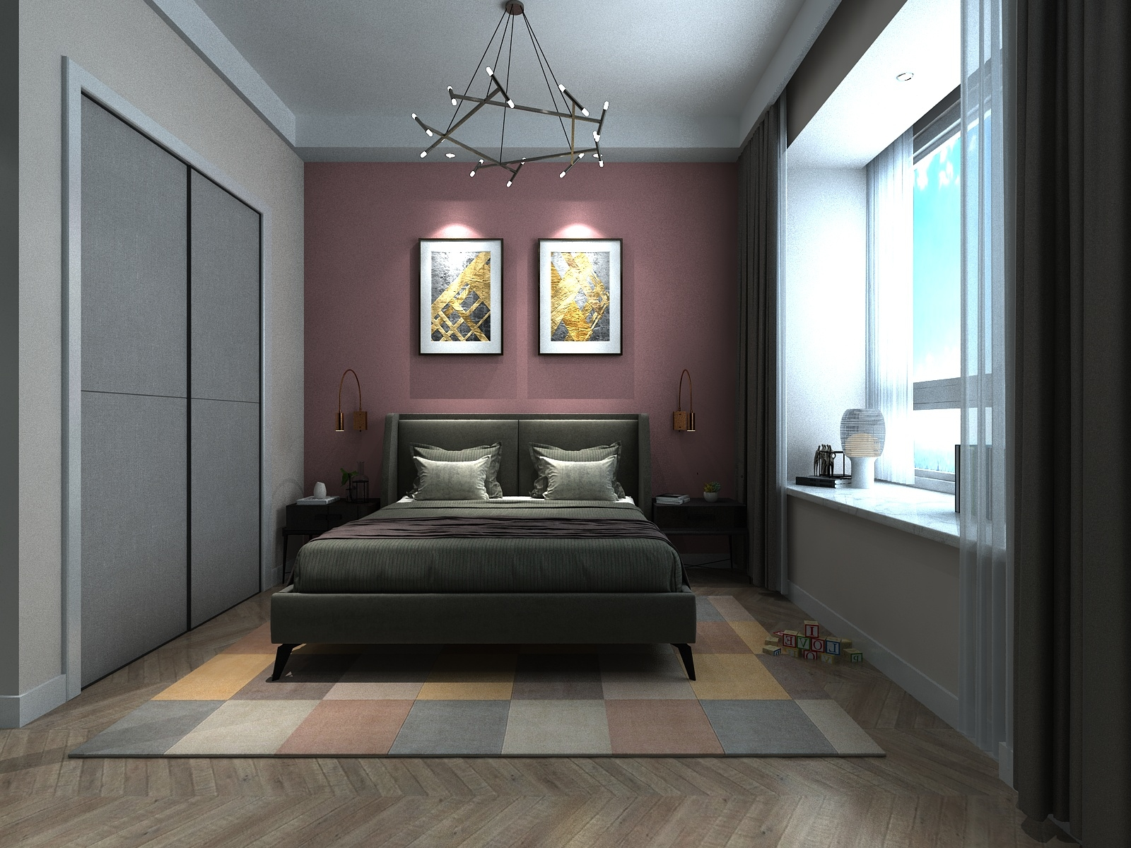 Child Bedroom with Pink Walls