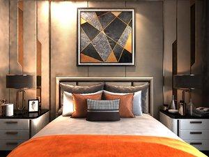 3D hotel bedroom sink