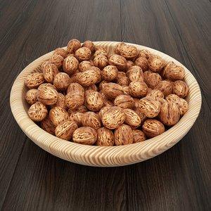 nut dish wood 3D model