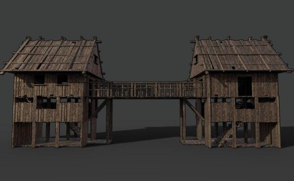 medieval wooden scouttower bridge 3D model