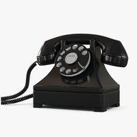 retro phone black