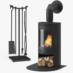 3D model fireplace contura 550 01