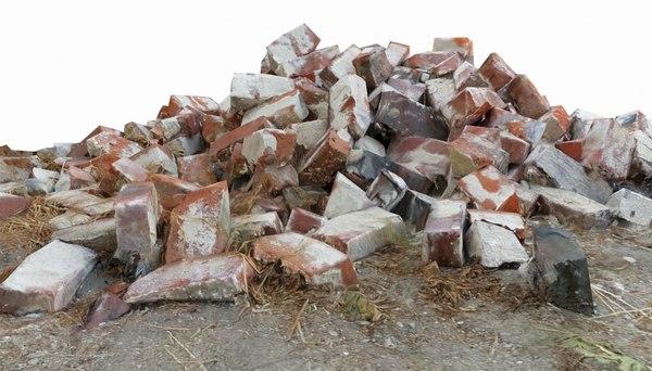 3D model pile red bricks