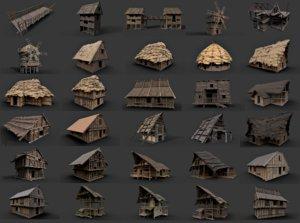 3D 30 enterable medieval houses