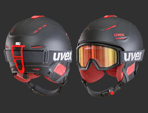uvex ski helmets goggles 3D model