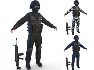 3D swat soldier 4k model