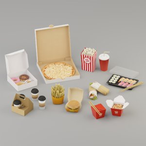 3D takeaway fast food model