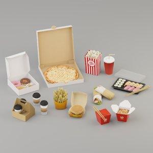3D takeaway fast food model