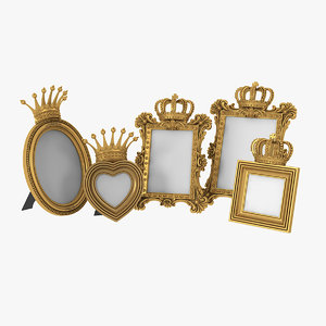 realistic baroque photo frames model