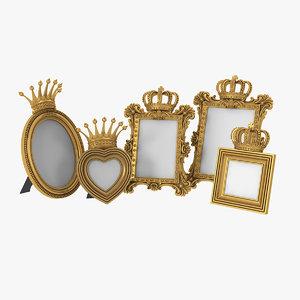 realistic baroque photo frames model