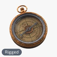 Old Compass, Rigged, High & Low Poly, PBR