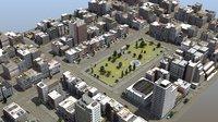 3D downtown city park