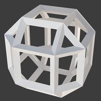 3D beveled cube wireframe