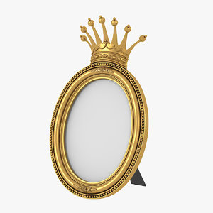 realistic baroque photo frame 3D model