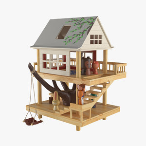 3D model wooden animals house