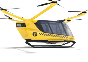 hydrogen powered yellow taxi 3D