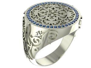 ornamental signet ring gems 3D model