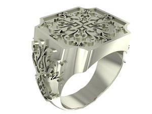 cube style signet ring 3D