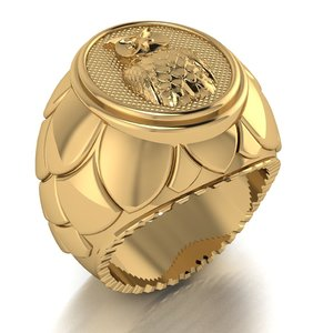 3D male signet ring owl