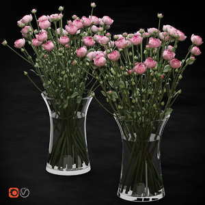 3D bouquet small pink shrub model